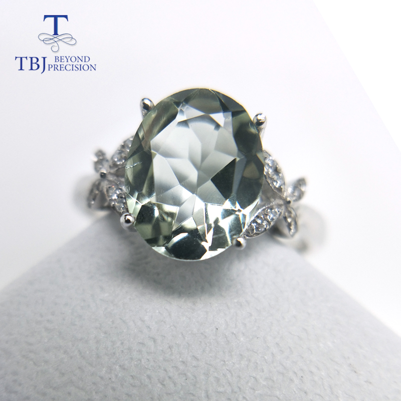 TBJ 100 natural green amethyst quartz gemstone ring 925 sterling silver fine jewelry for girls birthday