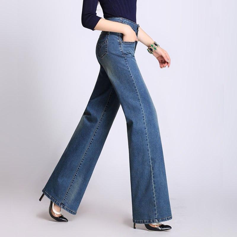 2017 Frühling Frauen Neue Mode Vintage Retro Stil Lange Jeans Hohe Taille Breite Bein Dark Licht Blau Gerade Jeans Für Frauen 5xl