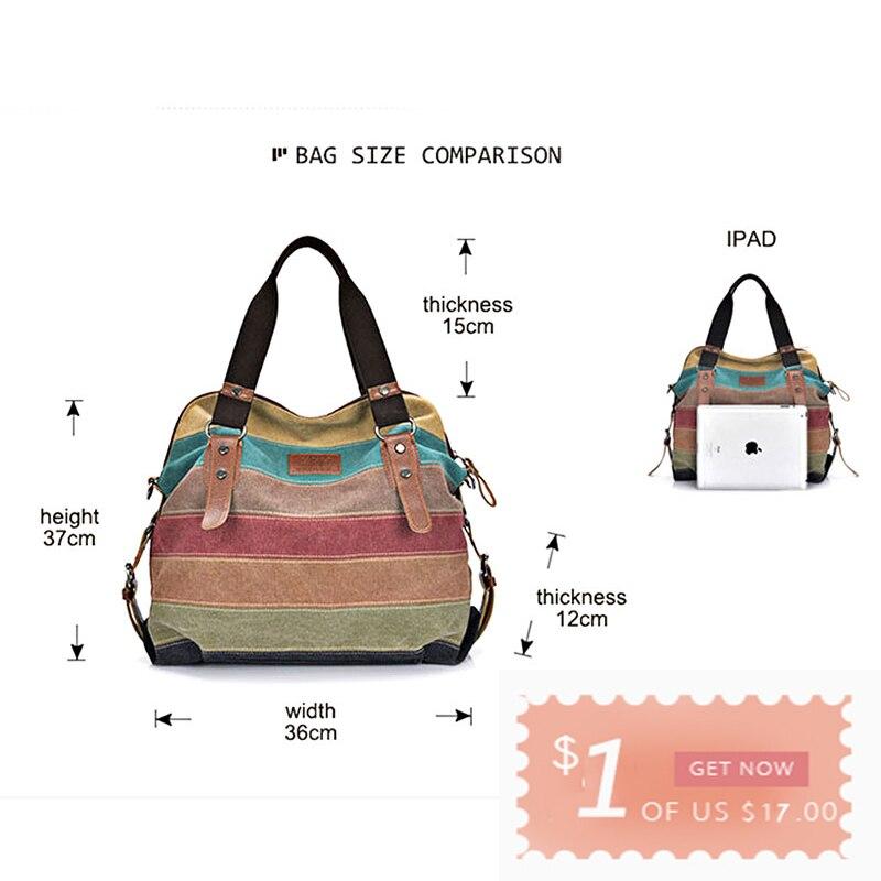 Colorful Women Canvas Shoulder Bag Large Satchel Handbags Ladies Patchwork Crossbody Messenger Bag Female Casual Tote Bag 1196 #6