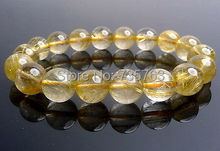 xiuli 00554 Natural Titanium Gold Hair Rutilated Quartz Round Stretch Bracelet 11.5-12mm