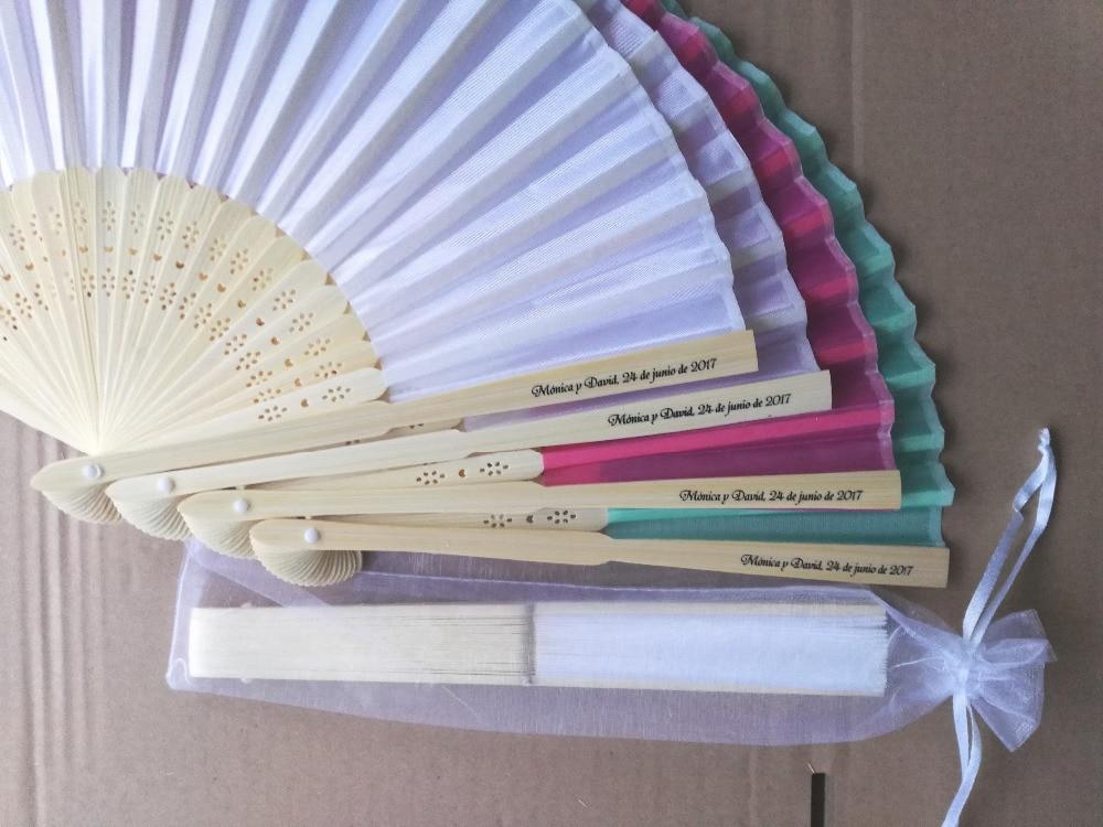 DHL 150pcs lot personalized silk hand fan silk wedding fan with organza gift bag packing