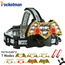 60000LM 7 Modes LED Headlight 9*T6+2 Red Warning Light Headlamp with SOS rescue whistle Electricity Reminder USB Charge 18650 90