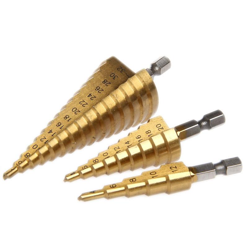 Titanium Step Drill Bit 1//4 to 3//4 1//4 Quick Change