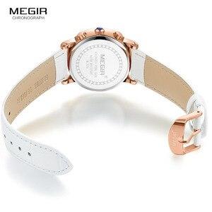Image 5 - ساعة كوارتز بكرونوجراف من Megir للنساء مع 24 ساعة وعرض التقويم الأبيض حزام من الجلد ساعات المعصم للسيدات 2058L