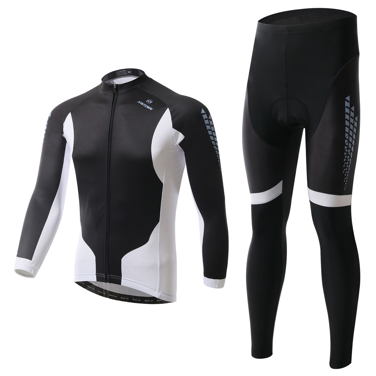 XINTOWN black Jazz long sleeve cycling wear bike riding jersey spring autumn moisture perspiration quick-drying clothes pants