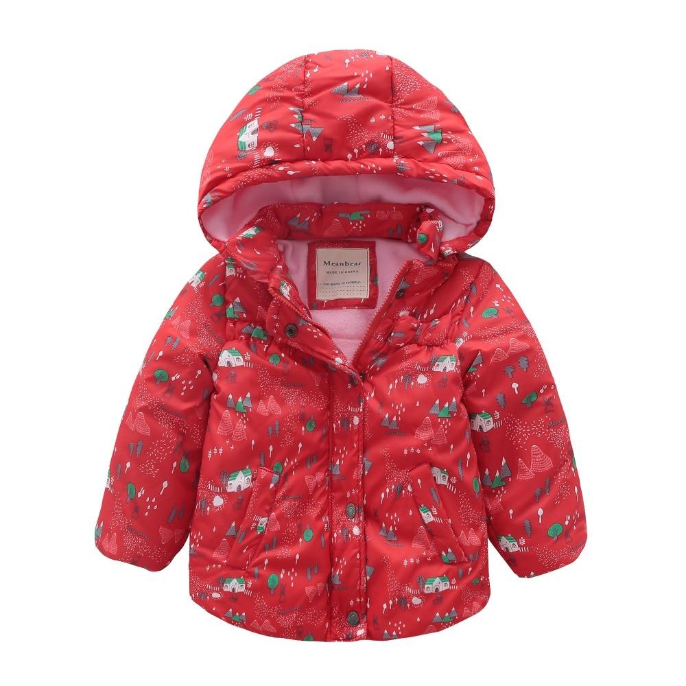 все цены на M116 Winter Child Thicken Warm Padded Lining Jacket Print Hooded Boys Parka Coats Kids Tops Spring Autumn Outwear Girls Jacket