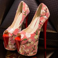 NEW Embroidered red fish mouth single shoes super high 20cm large size 41 47 yards 22cm women's shoes
