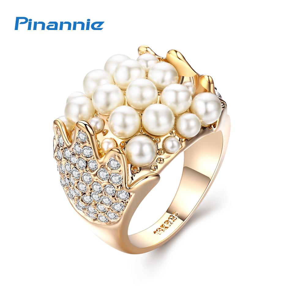 Pinannie Imitation Pearl Rings for Women Wedding Jewelry Anel Champagne Gold Color Anillos все цены