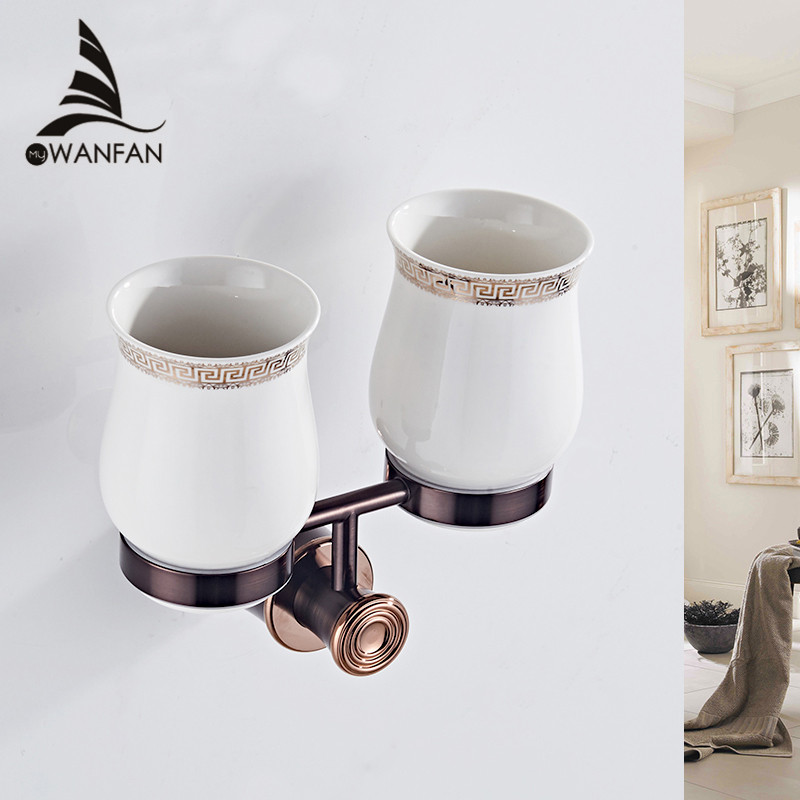 Cup Tumbler Holders Retro Black Toothbrush holder Wall Mounted Double Cup Holders Solid Brass Material Bathroom