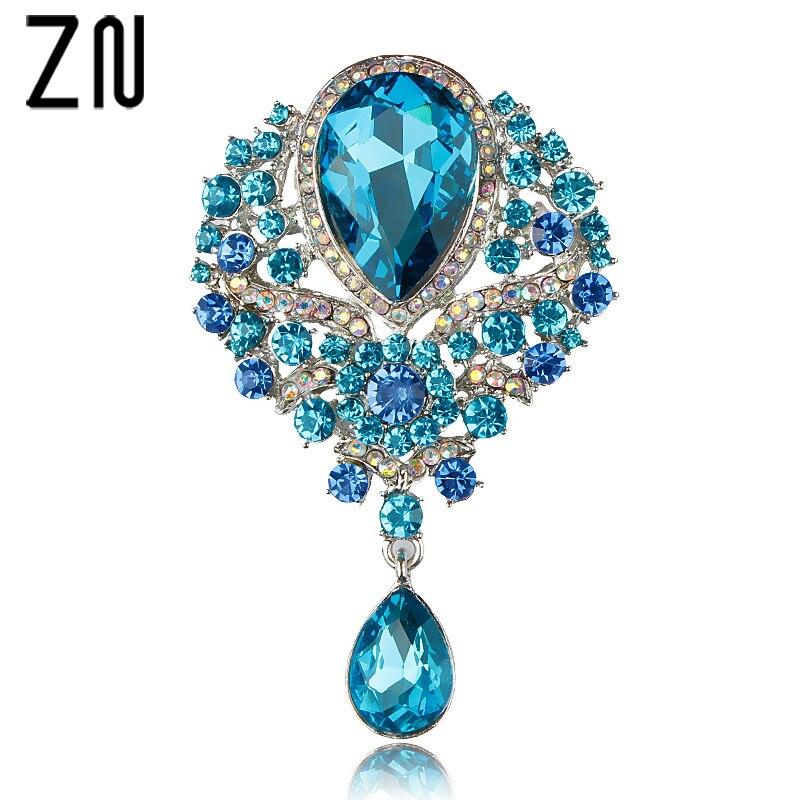ZN nouveau grand cristal Diamante strass larme mariage broche broches dans des couleurs assorties pour les femmes filles cadeau