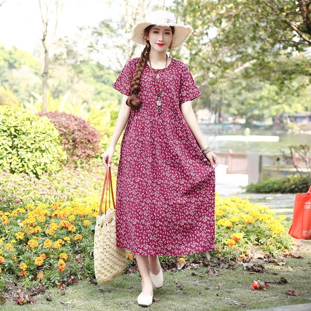 2019 Women Summer Cotton Linen Floral Print Robe Dress Mori Girl Literary Ethnic Boho Beach Loose Plus Size Maxi Dress Vestidos