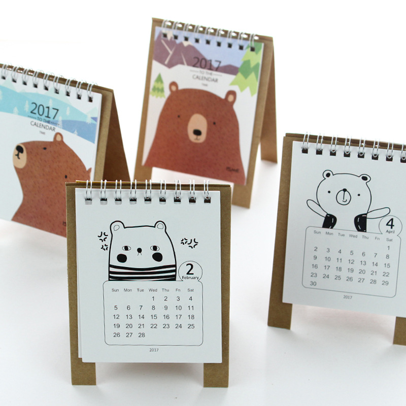 Diy Calendar Agenda : Colors mini desktop calendar creative cartoon bear