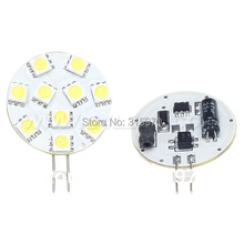 Free Shipping 10pcs/lot G4 led light 10LED SMD 5050 12VDC 220LM marine light  2W White Round Board For Car Camper Marine Bulb