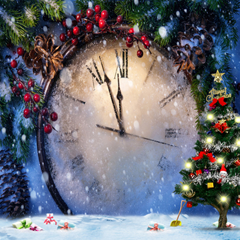 10x10ftcount down clock christmas photography backdrops xmas pine tree branch red berry winter holiday photo backgrounds