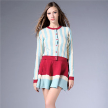 Casual Pleated Striped Full Lantern Sleeve Natural O-neck Above Knee, Mini Worsted Button Autumn Fashion dress