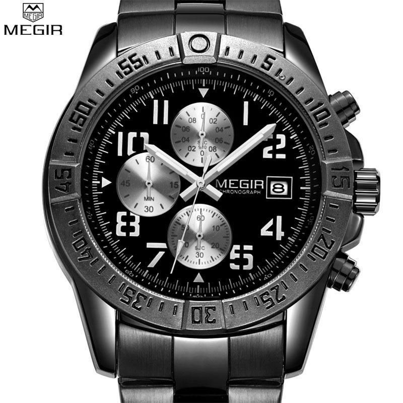 Prix pour MEGIR Hommes de Mode Noir Montre Chronographe Militaire Montres À Quartz Top Marque De Luxe Hommes Montres
