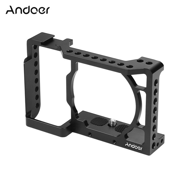 Andoer Camera Cage Video Film Movie Making Stabilizer Aluminum Alloy 1/4 Inch Screw with Cold Shoe Mount for Sony A6500 Camera