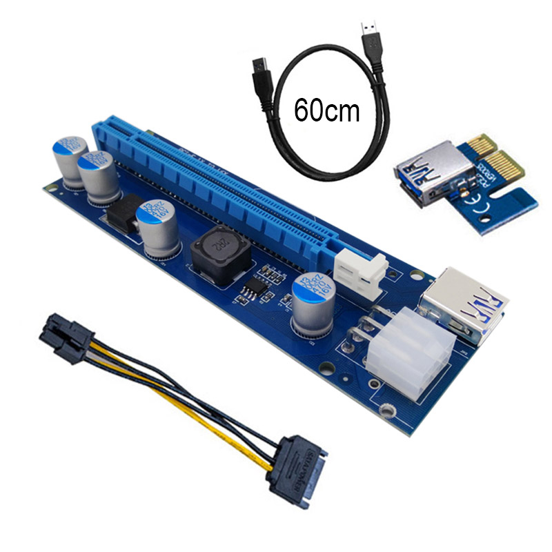 Apprehensive Pci-e Express Riser Card 1x To 16x Extender With Led Light Usb3.0 Cable Adapter Sata 6pin Power Supply 60cm Em88 Modern And Elegant In Fashion Computer Cables & Connectors