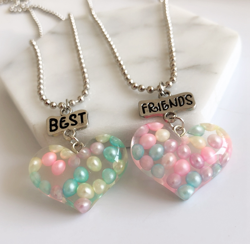 1set(2PCS) Imitation Heart Best Friends Necklace BFF Friendship Kids Necklace Drop Chain Necklace Children Jewelry Gift