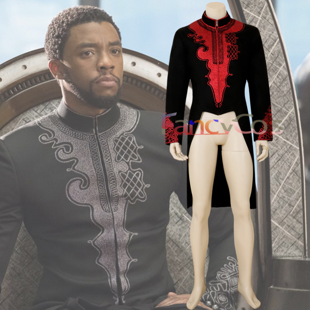 Halloween Black Panther Costume T'Challa DC Cosplay  Wakanda King Anime Movie red Tailcoat Men Jacket High Quality Custom Made