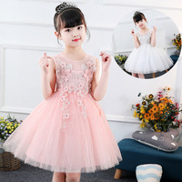 New Flower Lace Girl Dresses White Pink Real Party Pageant Communion Dress Little Girls Kids Children Dress for Wedding