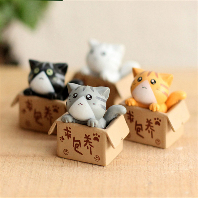 Resin Craft Little Cat Figurine Fairy Garden Miniatures Garden Cats  Terrarium Figurines Miniature Fairy Figurines Artesanato