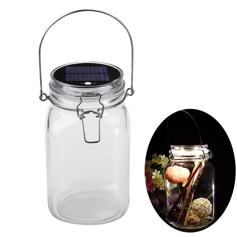 Romantic LED Glass Storage Jar Solar Powered Seal Jar for Tea Leaf Flower Sealing jewels by jar