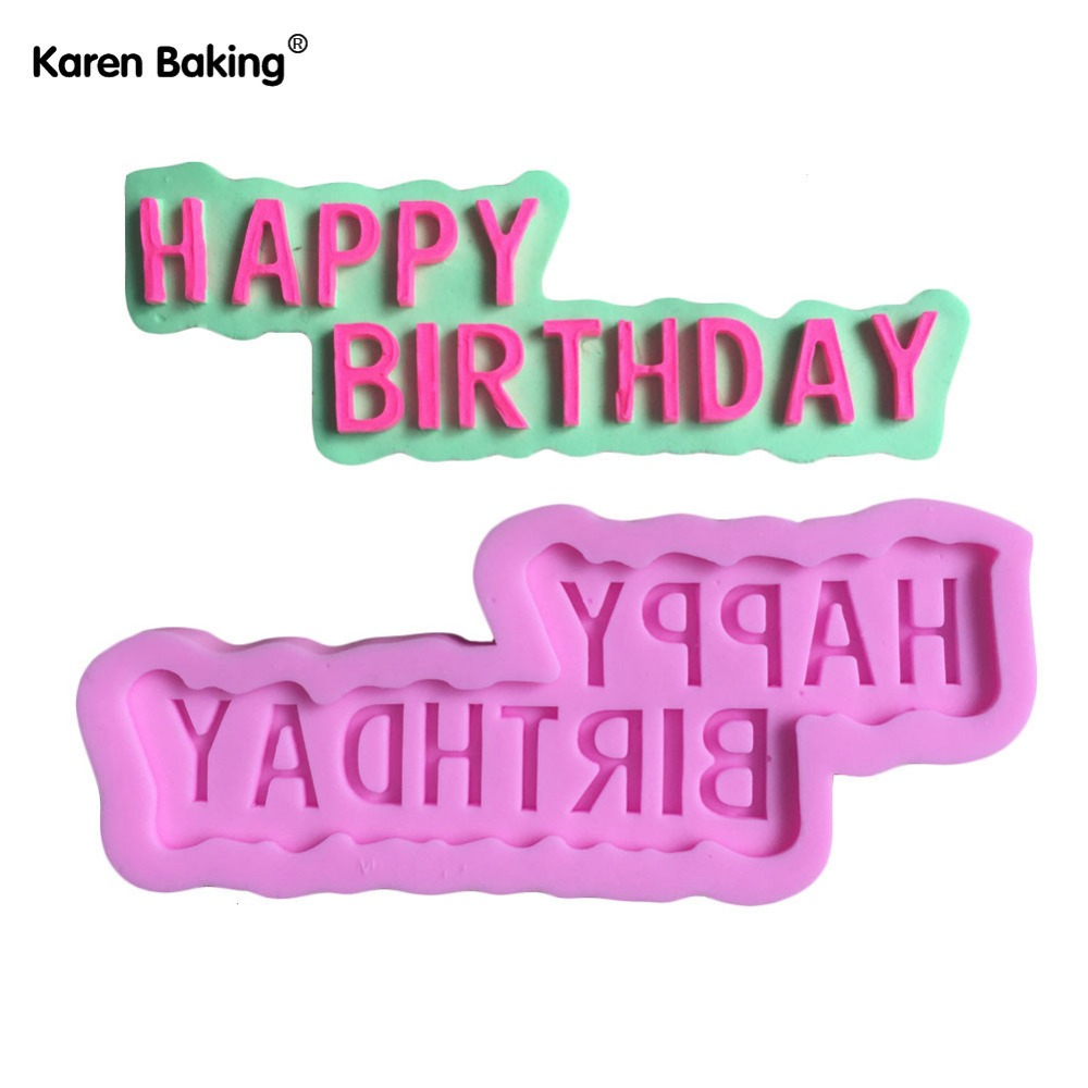 english words happy birthday shape silicone cake mold soap mold cake