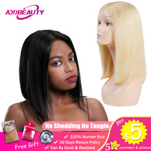 Addbeauty L Part Lace Wig 1b 613 Blonde Short Bob Wigs For Black Woman Lady Thick Straight Remy Brazilian Human Hair Middle 130%(China)