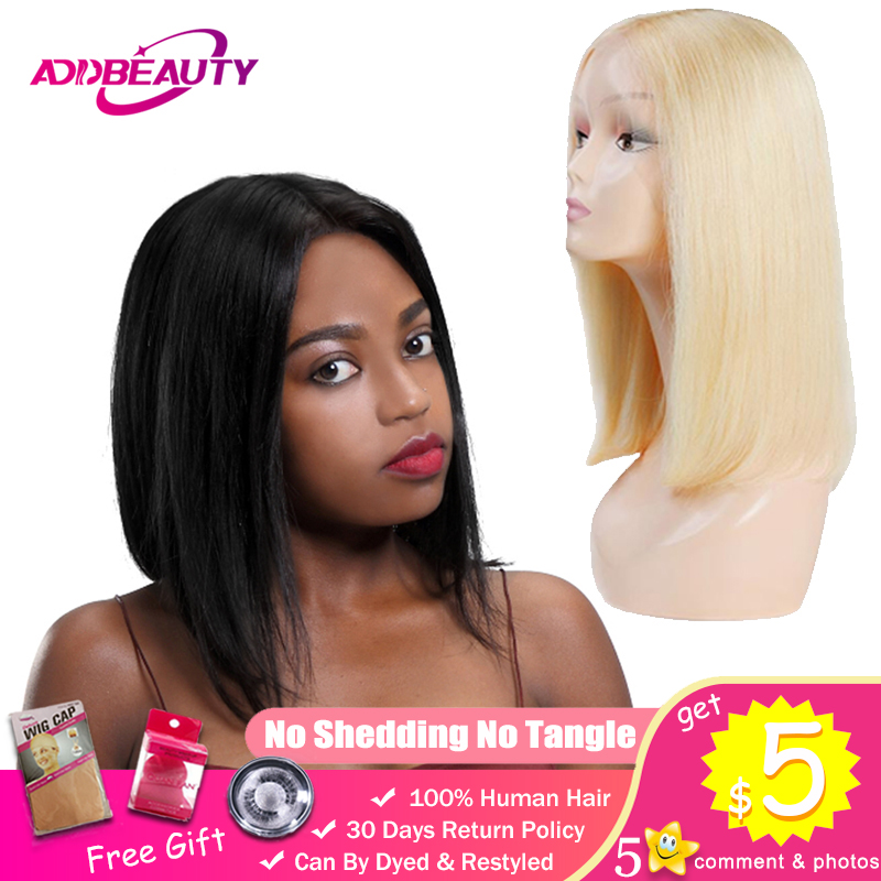 Addbeauty L Part Lace Wig 1b 613 Blonde Short Bob Wigs For Black Woman Lady Thick Straight Remy Brazilian Human Hair Middle 130% image