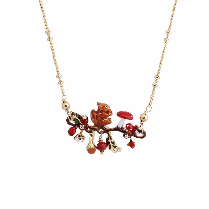 Lovely enamel glaze squirrel Red mushroom Pine nuts pendant necklace for women lady party jewelry choker necklaces unique mermaid with shell pendant necklace for women enamel glaze fashion choker necklaces lady party jewelry