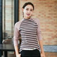 Blusas Femme Camisas Femininas Manga Longa 2018 Korean Fashion Knitted Cotton Turtleneck Striped Blouse Long Sleeve