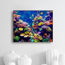 Laeacco Canvas Calligraphy Painting Deep Sea Creature Coral Posters and Prints Wall Artwork Nordic Home Living Room Decoration