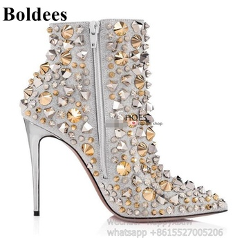Fashion Colorful Studded Rivets Pointed Toe Thin High Heel Spring Winter Boots Women Sexy Short Ankle Boot Real Picture