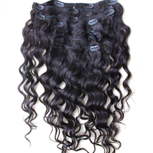 Loose Wave Clip In Human Hair Extensions Brazilian Virgin Human Hair Extension Clip 7Pcs/Set Natural Color Hair CARA
