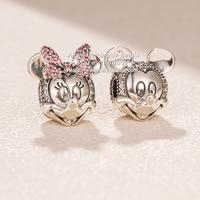 Fashion Jewelry 2018 Winter S925 Silver Mickey and Minnie Portrait With Crystal CZ Charm Beads Fit European Pandora Bracelet
