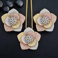 ModemAngel Luxury Flower AAA Cubic Zirconia Copper Engagement Bridal Necklace Earring Dubai Jewelry Set For Women