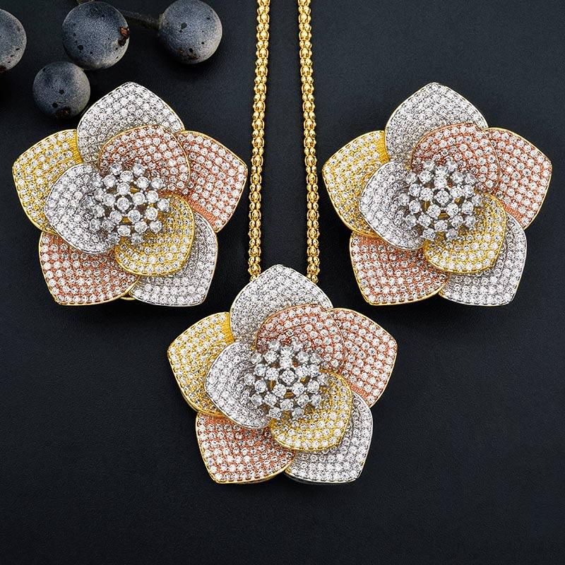 ModemAngel luksusowe kwiat AAA cyrkonia miedź zaręczyny Bridal naszyjnik kolczyki dubaj biżuteria zestaw dla kobiet w Zestawy biżuterii od Biżuteria i akcesoria na  Grupa 1