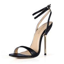 New Women Sandals Sexy Big Sizes High Heels Plain PU Ankle Strap Buckle Open Toe Thin Iron Heel Party Lady Heeled Shoes 3845-i6 new europe popular street beat rivet shoes high heeled catwalk sexy rome ankle buckle strap pu heel 12cm woman pumps 6368w