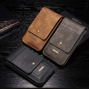 Universal Leather Waist Belt Clip Hook Loop Phone Bag Pouch Card Wallet Case Cover 5.2 6.5 Inch for IPhone X Samsung S6 S7 S8 S9