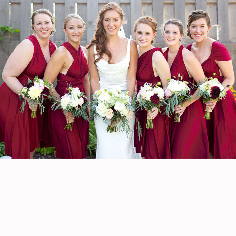 Burgundy Bridesmaid Dress Short Infinity Dress Wine Multi Way Dress Convertible Wrap Dress With Straps Off The Shoulder Styles