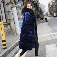 Hirsionsan Winter Velour Coat Women 2017 Oversized Blue Velvet Parkas Long Hooded Winter Jacket Thicken Warm