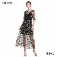 4XL Dress Big Size 5XL Dress Hollow Out Floral Summer A Line Mesh Embroidery Women Vestido Dress Vadim Two Pcs Lace Dress