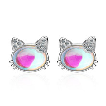 Fashion Child 925 Silver Clear Crystal Zircon Cute Cat Small Stud Earring For Girl Women Simple Party Earring Gift Jewelry ED675 2018 japanese style asymmetric starfish shell crystal stud earring women girl cute beach vacation starfish earring