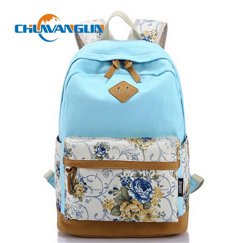 Chuwanglin Women's Backpack Korean Style Students Flower Printed Canvas Backpack Shoulder Bag School Bag Rucksack   Qg01261