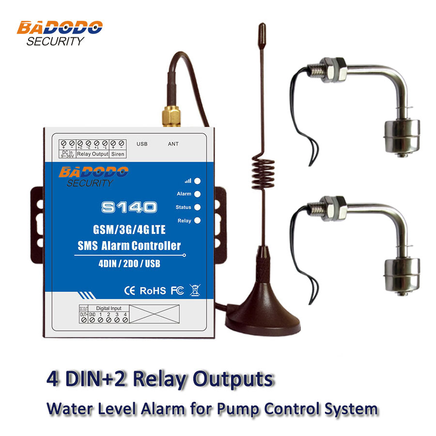 Badodo GSM SMS 2G 3G 4G Water Level Alarm System 4 DIN Water Level Controller for