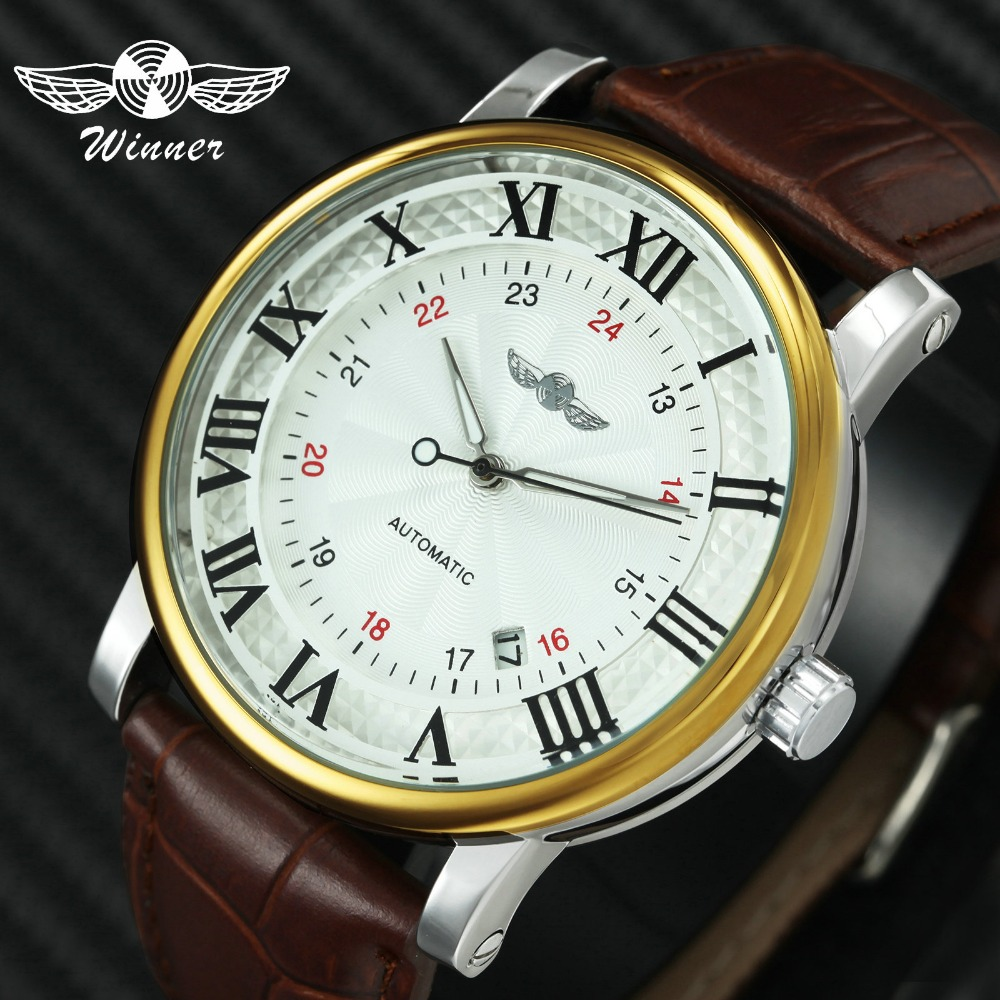 WINNER Casual Automatic Mechanical Mens Watches Top Brand Luxury Leather Strap 24-Hour Dial Luminous Hands Calendar Date ClockWINNER Casual Automatic Mechanical Mens Watches Top Brand Luxury Leather Strap 24-Hour Dial Luminous Hands Calendar Date Clock