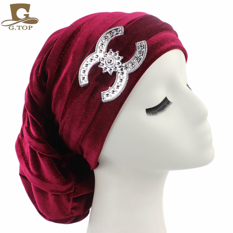 NEW Velvet Turban Chemo Baggy Hat Beany Slouch Cap Bandana Hair Loss Bonnet Tube with silver Accessory chemo skullies satin cap bandana wrap cancer hat cap chemo slip on bonnet 10 colors 10pcs lot free ship