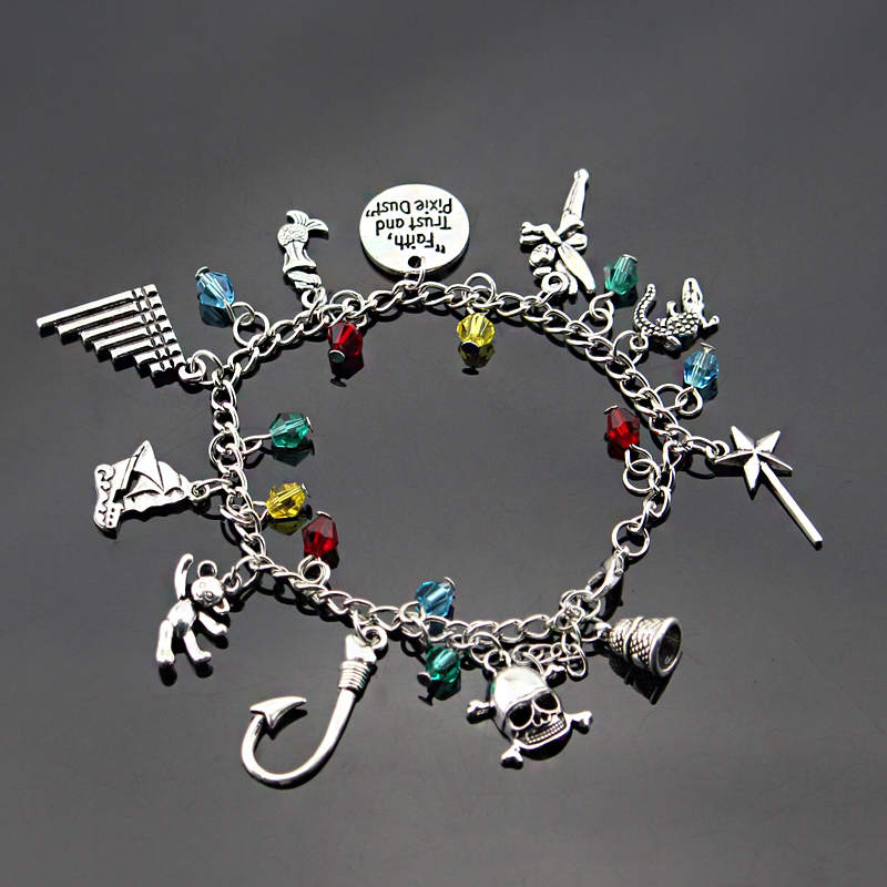 <font><b>Peter</b></font> <font><b>Pan</b></font> Tinkerbell Charm <font><b>Bracelet</b></font> Pirates Of The Caribbean