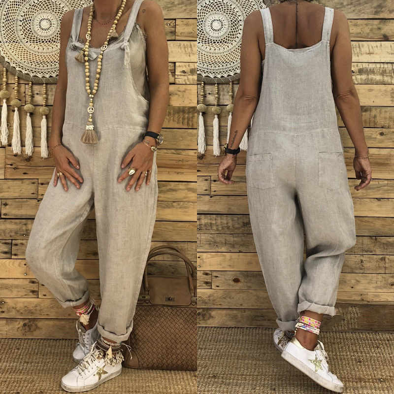 facc455a73a3 ... Women Casual Loose Cotton Linen Pants Jumpsuit Strap Harem Trousers  Overalls Black Khaki Black
